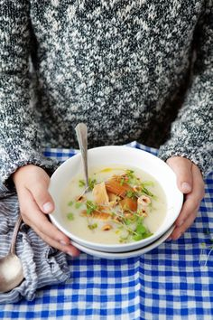Creamy celery root and apple soup with smoked trout and hazelnuts / Canelle Vanille #cozy