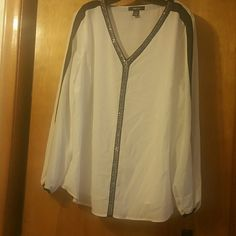 House White with black down the middle and with little silver stones an black on top of the sleeves Style & Co Tops Blouses