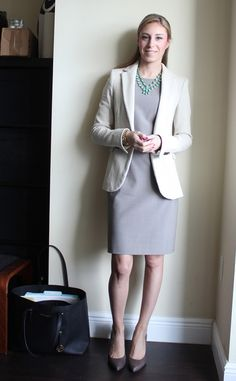 Possible med school interview outfit - but with a dark navy blazer, pearl studs, nude closed toe heels, and no necklace.