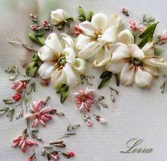Beautiful silk ribbon embroidery----apply to blouse/dress/sweater/purse