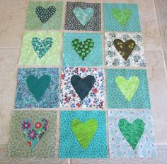 Set of 12 Scrappy Green Hearts  Cotton Quilt Blocks #Unbranded