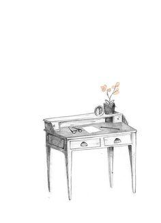 writing desk. by Clare Owen Illustration, via Flickr