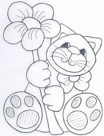excellent image for a felt project, or paper crafting Cat Applique, Applique Patterns, Applique Quilts, Quilt Patterns, Cat Coloring Page, Coloring Book Pages, Coloring Sheets, Cat Template, Templates
