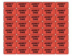 Free Printable Admission Tickets | The same printable admit one tickets as above, but in red. PDF format.