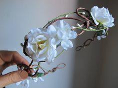 Woodland Wedding Flower Crown Fairy Wedding Headband by deLoop, $60.00