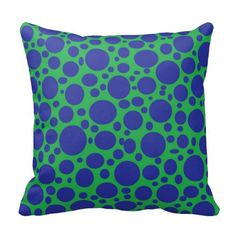 Green Sea of Blue Bubbles Pillow