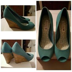 PRICE FIRM American Eagle Heels New in box Turquoise Cork wedge heel, new never worn in box American Eagle by Payless Shoes Wedges