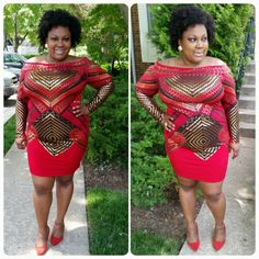 #mychicandcurvystyle #happychicandcurvyclient @thecurvygirldiva looks awesome in Chic and Curvy thanks for sharing your gorgeous pic with us  available at: http://www.chicandcurvy.com/bodycons/product/9173-holidayoutlet-plus-size-red-black-gold-off-the-shoulder-bodycon-dress