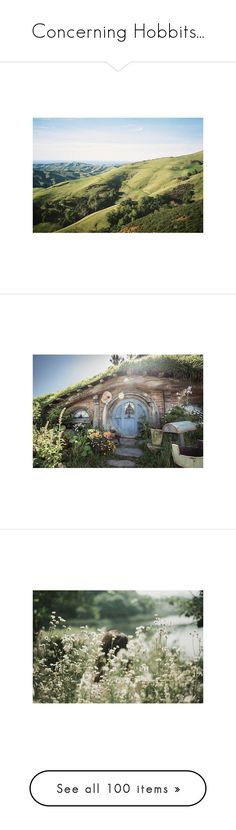 """""""Concerning Hobbits..."""" by elsabear ❤ liked on Polyvore featuring fans, pictures, backgrounds, green, photos, fantasy, lotr, hobbit, house and pics"""