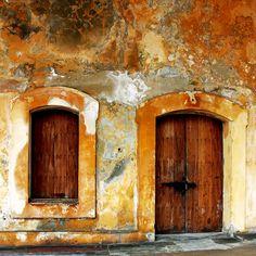 Beautiful wooden door and window in San Juan, Puerto Rico.  doors of the world. travel. Caribbean. wood doors.