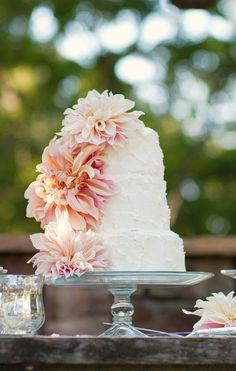 Floral Wedding Cakes Dahlia and Buttercream Wedding Cake. I would want this with buttercream flowers, though. - Dahlia and Buttercream Wedding Cake Dahlia Wedding Bouquets, Wedding Cakes With Flowers, Cake Flowers, Mod Wedding, Floral Wedding, Summer Wedding, Garden Wedding, Fondant Wedding Cakes, Buttercream Wedding Cake