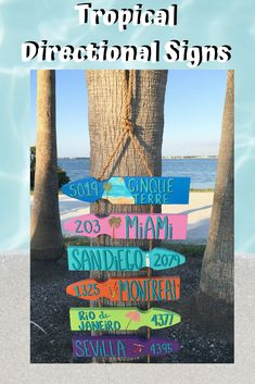 Liven up your outdoor patio with these personalized, tropical colored directional signs. These are a great way to remember all the best places you've visited. Coastal Colors, Coastal Decor, Directional Signs, House With Porch, Garden Signs, Florida Home, Coastal Homes, Inspired Homes, Pallet Projects