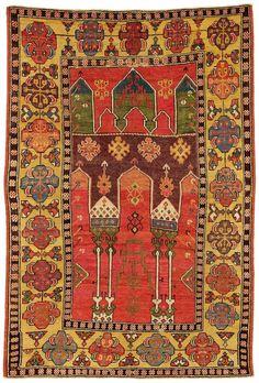 KONYA area (tripel arch) prayer rug, ca. Persian Carpet, Persian Rug, Textiles, Art Chinois, Medieval Tapestry, Art Japonais, Fabric Rug, Prayer Rug, Magic Carpet
