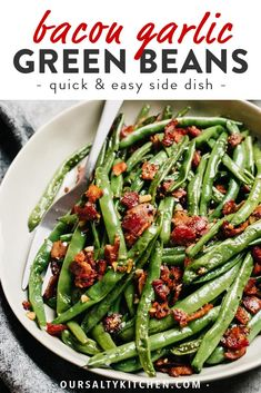 Green beans with bacon are the fast and easy side dish you need for everything from weeknight dinners to holiday celebrations like Thanksgiving and Christmas. Ready in 20 minutes using one pan and jus Sauteed Green Beans, Green Beans With Bacon, Garlic Green Beans, Fresh Green Bean Recipes, Side Dishes Easy, Vegetable Side Dishes, Side Dish Recipes, Easter Side Dishes, Thanksgiving Side Dishes
