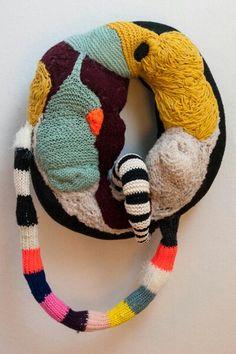 Wallobject Stine Leth fiber textile sew stitch embroidery crochet soft sculpture