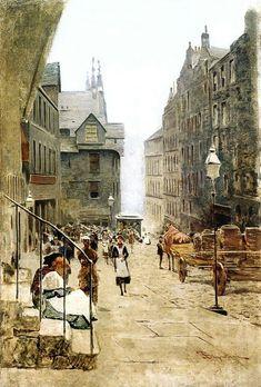 Telemaco Signorini (Italian, 1835 - 1901) High Street a Edimburgo 1881