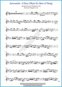 Music score of I Don`t Want To Miss A Thing by Aerosmith (Theme from Armageddon) Bass Saxophone, Baritone Sax, Clarinet, Alto Sax Sheet Music, Violin Sheet Music, Aerosmith Lyrics, Play That Funky Music, Lead Sheet, Song Words