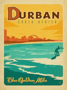 South Africa: Durban vintage travel poster
