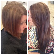 Short hair to long hair with Babe tape in extensions by Ashley Rogers.