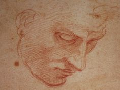 Michelangelo: Study of a man's face for the Flood in the Sistine ceiling