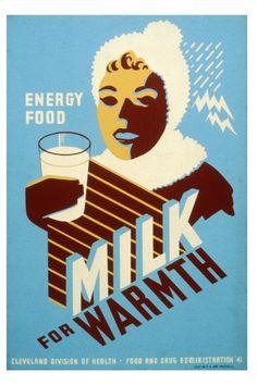 Milk for Warmth - Vintage WPA Poster Art Print