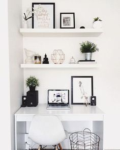 "Workspace Goals on Instagram: ""Starting our feed with this white workspace regram from Hayley /taylor/.dbeauty in Australia :sunny: We love the clean, monochrome + copper aesthetic :sparkles: So bright + light and proves that big things can happen in small spaces Hayley is a beauty vlogger sharing fresh + fun makeup how-to videos with a hidden talent for interior styling Thanks Hayley for sharing your workspace + for being first in our #workspacegoals feed """
