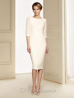 2013 Elegant Traditional 1/2 Sleeves Tea Length Lace Beach Wedding Dress NW1039 by Noviamor Dress
