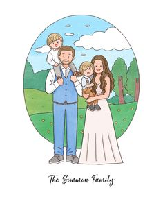 Doodle Drawings, Cute Drawings, Doodle Art, Family Drawing, Landscape Background, Text On Photo, Digital Portrait, Family Portraits, Customized Gifts