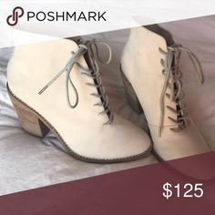 KDB Cream Lace Up Suede Ankle Bootie Kelsi Dagger Cream Lace Up Bootie. Size 7.5. Cream Suede with light gray laces and tan heel. Like New, worn once. Gorgeous Boot that I love just wear other booties more. Price firm. Kelsi Dagger Shoes Ankle Boots & Booties