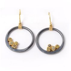 Earrings, 18k Gold and Sterling Silver with .63 ct Rose Cut Diamonds and .2 ct Raw Cube Diamonds - Todd Reed