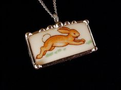 Bunnykins running bunny rabbit broken china pendant