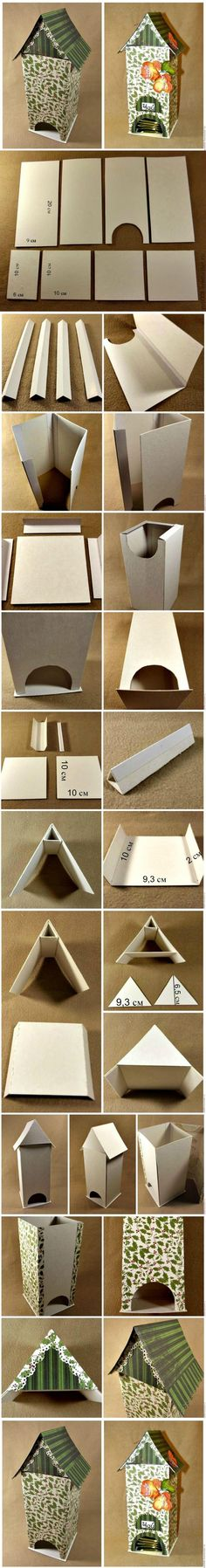 DIY Cardboard Tea Bag Dispenser | DIY Creative Ideas - really cute, practical, and shows how to reinforce and stabilize a cardboard structure.
