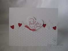 The Small Print (All Stampin' Up)  Stamps: Well Scripted (Occasions Mini)  Ink: Real Red  Cardstock: Whisper White, Real Red  Accessories: Red gingham ribbon, Full Heart punch, Heart to Heart punch, Polka dot embossing folder, dimensionals, glue dot