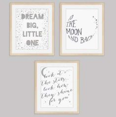 Whimsical Baby Wall Prints Art - 3 Prints for Baby's Nursery Bedroom (Unframed) Gender Neutral Gray Sleepy Graphic Decor Posters 8 x 10 inches Printed Posters Boy Girl To The Moon & Back Dream - Baby Gender Neutral Colors, Neutral Colour Palette, Wall Collage, Wall Art Prints, Poster Prints, Flower Girl Signs, Baby Prints, Illustrations Posters, Whimsical