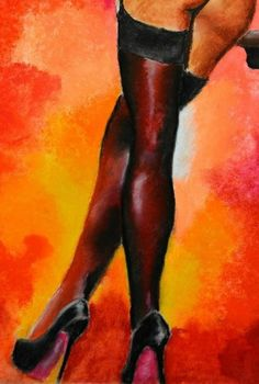 Black stockings with black heels. Painting picture.