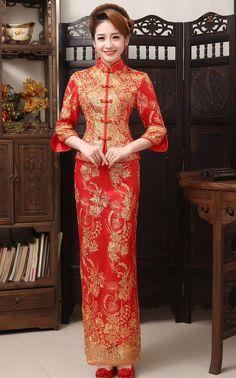 Cheongsam Online - Wedding Dresses - Fishtail Long Dress - Chinese Clothing - On Sale