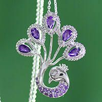 Sterling Silver Amethyst Peacock Necklace $77.99 Also available in Citrine, Peridot, Garnet and Topaz.