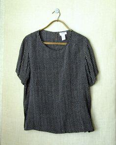 vintage oversized top - black & white stripe $24