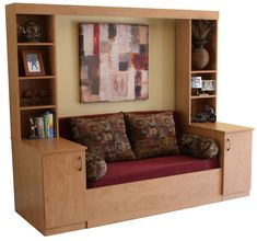 """Slide Away {Sofa} Bed - """"The Ultimate Murphy Bed / Wall Bed Alternative. Murphy Bed With Sofa, Murphy Bed Plans, Murphy Beds, Pull Out Bed Couch, Tiny House Furniture, Home Furniture, Furniture Design, Compact Furniture, Tiny House Blog"""
