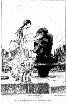 The illustration on page 364 in book 6 of Notre-Dame de Paris (The Hunchback of Notre Dame) by Victor Hugo, from the 1889 edition.