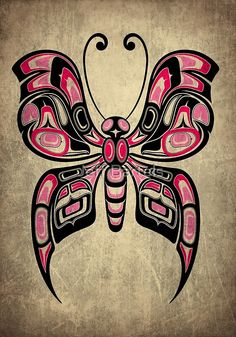 'Pink and Black Haida Spirit Butterfly' Art Print by jeff bartels Haida Kunst, Arte Haida, Haida Art, Arte Tribal, Tribal Art, Haida Tattoo, Inca Tattoo, Native American Totem, Native American Symbols