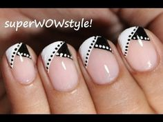 Black And White Diagonal French Tip Nail Art1