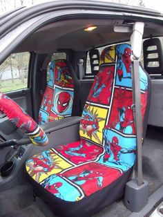 1 Set Of Blue Liner Tan Plaid Print Seat Covers And Steeling Wheel Cover Custom Made