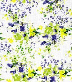 Fashion Cotton Fabric Swiss Dot Lilacs Purple Green Cotton