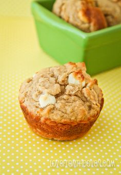 (pretty damn healthy as far as muffins go) Peanut Butter Banana White Chocolate Chip Muffin Recipe