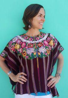 Stunning Maya Woman's Vintage Red Floral Huipil Poncho from Patzun, Guatemala