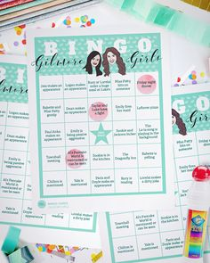 20 Bingo Game Cards // Gilmore Girls Game // by PaperConfete Gilmore Girls Cast, Gilmore Girls Netflix, Girls Party Decorations, Party Themes, Party Ideas, Themed Parties, Gift Ideas, Timeless Show, Life Trailer