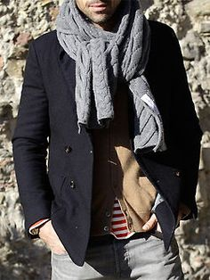 Wrap up warm - menswear fashion - knitted grey scarf http://pinterest.com/arenaint
