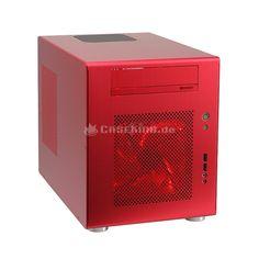 Lian Li PC-Q08R Mini-ITX Cube in rot. Kurzum: Der Q08 ist ein Hybridgehäuse, welches eine ungemein praktisch ausgelegte und nicht zu knapp bemessene Behausung für Mini-ITX darstellt. Damit eignet sich der Cube für vielfältige Anforderungen. Zunächst kann er als HTPC oder Desktop-PC genutzt werden und mit seiner edlen Gestaltung und hochwertigen Verarbeitung auch im Wohnzimmer gefallen.