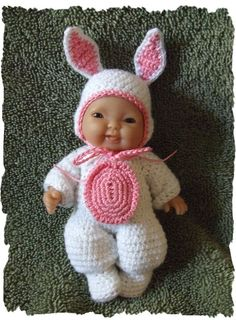 Crochet PATTERN for 5 Inch Berenguer Bunny Costume by alcarrico32, $3.99